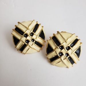 Vintage Ivory and Gold Tone Button Clip Earrings